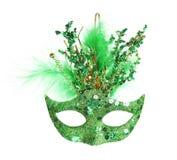 Colorful Mardi Gras mask isolated on white. Colorful green Mardi Gras mask isolated on white stock photography