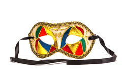 Colorful Mardi Gras Mask on white background with black ribbon Stock Photography