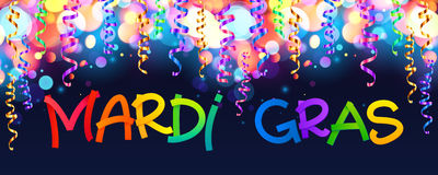 Colorful Mardi Gras sign on dark blue background with bokeh and confetti Stock Photography