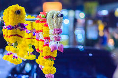 Colorful marigold flower garlands for hindu religious ceremony. Garland of indians for worship goddess in the florist shop nearby Sri Maha Mariamman Temple Royalty Free Stock Photos
