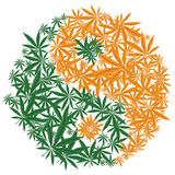 Colorful marijuana design Yin Yang cannabis leaf symbol. Vector. Stock Photography