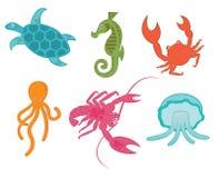 Colorful marine animals. Illustration of colorful marine animals, isolated on white background Stock Images