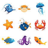 Colorful Marine Animals Set. Of Cute Bright Color Childish Design Vector Illustrations Isolated On White Background Stock Images