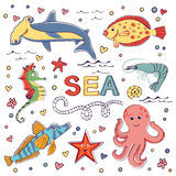 Colorful marine hand drawn clipart Royalty Free Stock Photos