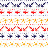 Colorful marine striped seamless pattern with anchors, fishes, starfishes, dots, vector. Background Stock Photography