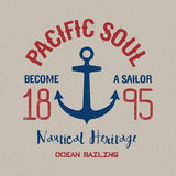 Colorful Maritime Poster. With phrase Pacific Soul become a sailor vector illustration Stock Images