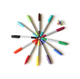 Colorful marker. Circle of colorful markers, isolated on white background Royalty Free Stock Photography
