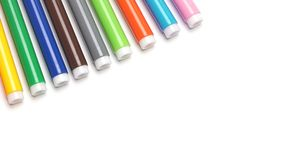 Free Colorful Marker Pen Set On Isolated Background With Clipping Path. Stock Photo - 100842970