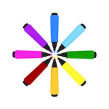 Colorful marker-pens Royalty Free Stock Images