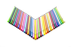 Colorful marker pens isolate. Stock Images