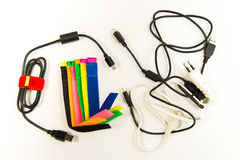 Colorful marker straps with wire and cables Royalty Free Stock Photography