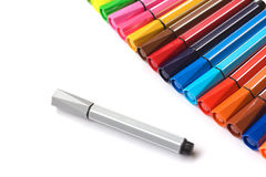 Colorful markers. Arranged in curved marker,Colorful contrast with the gray Stock Photography