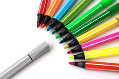 Colorful markers. Arranged in curved marker,Colorful contrast with the gray Royalty Free Stock Images