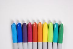 Colorful markers. Group of colorful markers lined up in a row Royalty Free Stock Images