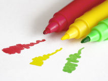 Colorful markers. With shallow dof royalty free stock photos