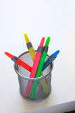 Colorful markers - from above Royalty Free Stock Photo