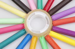 Colorful markers and adhesive tape Stock Image