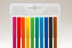 Colorful markers in blister pack royalty free stock images