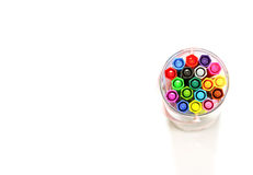 Colorful markers pens isolated.top view Royalty Free Stock Image