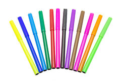 Colorful markers pens Multicolored Felt Pens Stock Photo