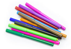 Colorful markers pens Multicolored Felt Pens Royalty Free Stock Images