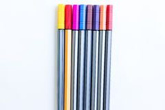 Colorful markers pens. On white background Stock Image