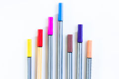 Colorful markers pens. On white background Royalty Free Stock Image