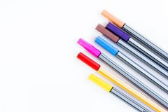 Colorful markers pens. On white background Royalty Free Stock Images