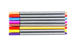Colorful markers pens. On white background Royalty Free Stock Photography