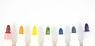 Colorful markers on white background isolated Royalty Free Stock Photo