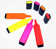 Colorful markers. On white - isolated Stock Image