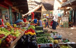 Colorful market in Akko, Israel Stock Images