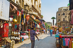 The colorful market. CAIRO, EGYPT - OCTOBER 10, 2014: The picturesque arabic bazaar in Jawhar Al Qaed street with many local souvenirs and traditional crafts, on Royalty Free Stock Photos