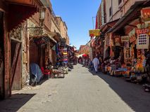 Market street in Marrakesh, Morocco. Colorful market street in Marrakesh, Morocco. Part of the souk, with many sellers, but on a quiet day Stock Photography