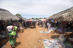Colorful marketplaces on the main road, near Antsohihy, Madagascar Royalty Free Stock Images