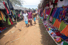 Colorful marketplaces on the main road, near Antsohihy, Madagascar Stock Image