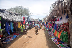 Colorful marketplaces on the main road, near Antsohihy, Madagascar Stock Photo