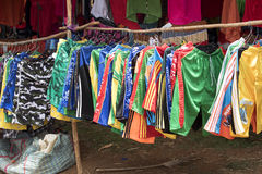 Colorful marketplaces on the main road, near Antsohihy, Madagascar Stock Images