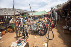 Colorful marketplaces on the main road, near Antsohihy, Madagascar Stock Photos