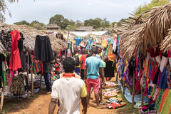 Colorful marketplaces on the main road, near Antsohihy, Madagascar Royalty Free Stock Image