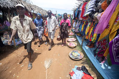 Colorful marketplaces on the main road, near Antsohihy, Madagascar Royalty Free Stock Photography