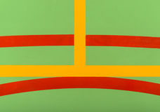 Colorful markings on a green indoor court Royalty Free Stock Image