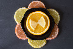 Colorful marmalade lemon and orange pieces with sugar and sliced Stock Image
