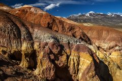 Colorful Mars mountains in Altai, Russia. Somewhere deep within Altai mountains, Russia Royalty Free Stock Image