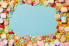 Colorful marshmallow candies and jellies as background Stock Photography