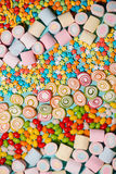 Colorful marshmallow candies and jellies as background Stock Image