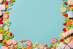 Colorful marshmallow candies and jellies as background Royalty Free Stock Images