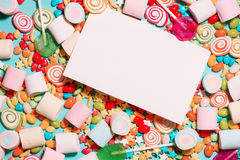 Colorful marshmallow candies and jellies as background Royalty Free Stock Image