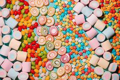 Colorful marshmallow candies and jellies as background Stock Photo