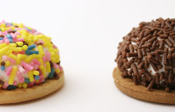 Colorful Marshmallow Cookies. Macro shot of colorful marshmallow cookies with sprinkles on top Stock Photo
